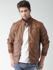 Mast & Harbour Brown Faux Leather Biker Jacket