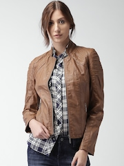 Mast & Harbour Tan Brown Biker Jacket