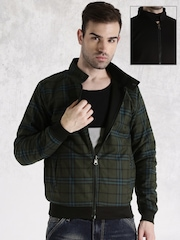 Roadster Black & Olive Green Reversible Jacket