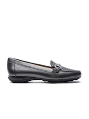 GEOX Respira Women Gunmetal-Toned Breathable Croc Pattern Italian Patent Leather Loafers