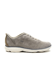 GEOX Respira Men Taupe Breathable Italian Patent Leather Sneakers