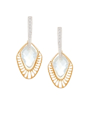 Mia by Tanishq 14-Karat Gold Precious Earrings with Diamonds & Topaz
