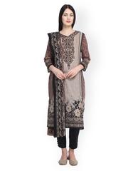 Uptown Galeria Beige & Black Printed Pakistani Cotton Lawn Unstitched Dress Material