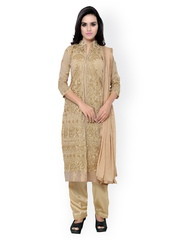 SURAT TEX Beige Embroidered Georgette Unstitched Dress Material