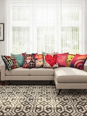 "SEJ by Nisha Gupta Multicoloured 16"" x 16"" Set of 8 Square Cushion Covers"