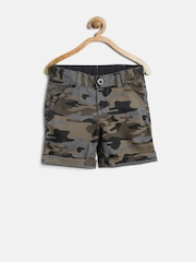 YK Boys Olive Brown Camouflage Print Shorts