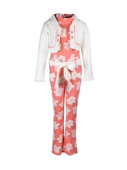 CUTECUMBER Girls Coral Orange & White Floral Print Jumpsuit with Jacket