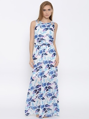 Vero Moda White & Blue Leaf Print Polyester Maxi Dress