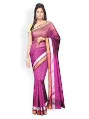 Pavechas Purple Banarasi Cotton & Art Silk Traditional Saree