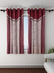 Fashion String Set of 2 Maroon Printed Window Curtains