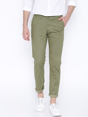 Cotton Colors Olive Green Printed Chino Trousers