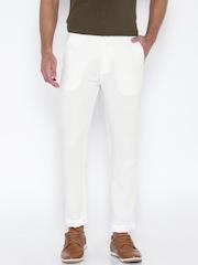 Cotton Colors White Linen Narrow Fit Casual Trousers