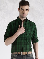Roadster Green & Black Checked Casual Shirt