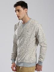 HRX by Hrithik Roshan Grey Melange & Off-White Printed Sweatshirt