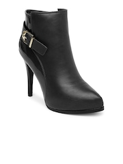 Inc.5 Women Black Pointy-Toed Heeled Boots