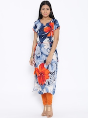 Shree Blue & Orange Floral Print Kurta