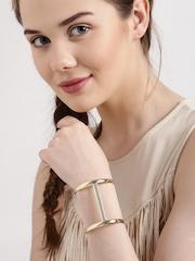 Lyla Loves Gold-Toned Stone-Studded Cuff Bracelet
