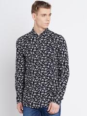 Jack & Jones Black Linen Printed Slim Casual Shirt