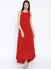Tokyo Talkies Red Polyester Maxi Dress