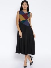 Tokyo Talkies Black Printed Polyester A-Line Dress