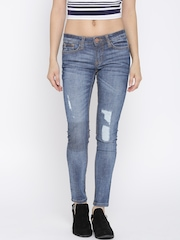 Tokyo Talkies Blue Washed Distressed Skinny Jeans