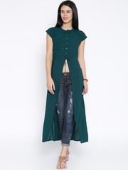 Tokyo Talkies Dark Green Polyester Maxi Top