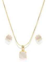 Zaveri Pearls Gold-Toned & White Pendant & Earrings Set