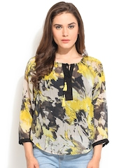 Instacrush Grey & Yellow Printed Polyester Top