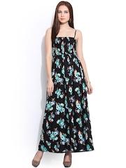 Instacrush Black Floral Print Polyester Maxi Dress