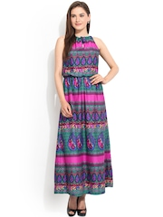 Instacrush Multicoloured Printed Polyester Maxi Dress