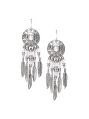 FOREVER 21 Oxidised Silver-Toned Stone-Studded Beaded Drop Earrings