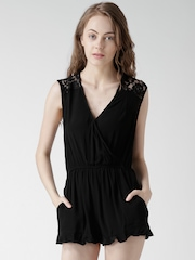 FOREVER 21 Black Lace Back Playsuit