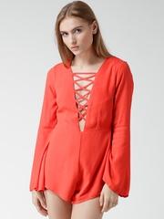 FOREVER 21 Coral Orange Playsuit