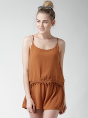 FOREVER 21 Rust Brown Layered Playsuit