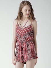 FOREVER 21 Red Ethnic Print Playsuit