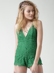 FOREVER 21 Green Criss-Cross Back Crochet Playsuit