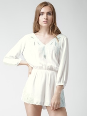 FOREVER 21 White Embroidered Tie-Up Back Playsuit