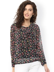 Color Cocktail Black Floral Print Georgette Top