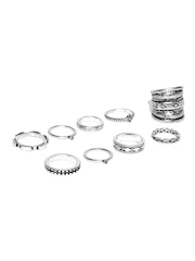FOREVER 21 Set of 9 Oxidised Silver-Toned Rings