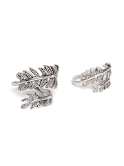 FOREVER 21 Set of 2 Oxidised Silver-Toned Leaf-Shaped Rings