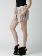 FOREVER 21 Taupe Lace-Up Crinkled Shorts