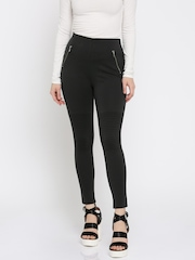 all about you from Deepika Padukone Women Black Solid Flat-Front Casual Trousers