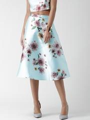FOREVER 21 Blue Floral Print A-Line Midi Skirt