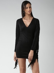 FOREVER 21 Black Polyester Fringed Sheath Dress