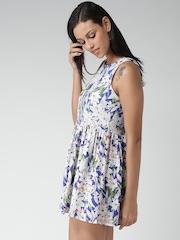 FOREVER 21 Blue & White Floral Print Skater Dress