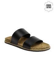 Arrow Men Black Genuine Leather Sandals