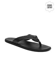 U.S. Polo Assn. Men Black Genuine Leather Sandals