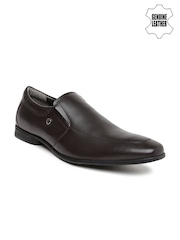 Arrow Men Brown Genuine Leather Formal Slip-Ons