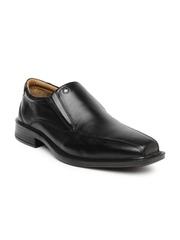 Arrow Men Black Leather Slip-Ons