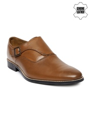 Arrow Men Tan Brown Genuine Leather Monk Formal Shoes